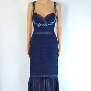 NWT Faviana V-Neck Mermaid Formal Gown in Blue